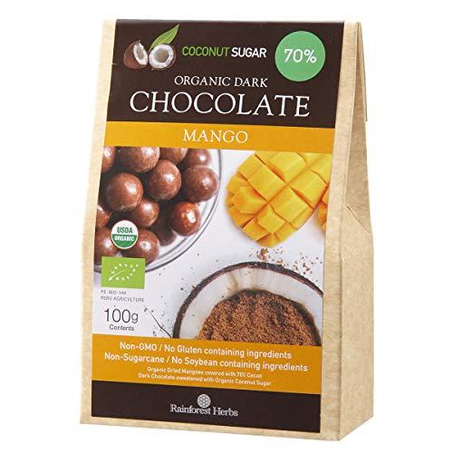 マンゴー オーガニックダークチョコレート ペルー産カカオ70% 有機ココナッツシュガー 100g 1個