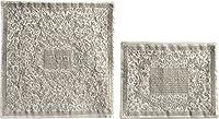 Matzahカバーfor Matzah Shmurahパンプレートまたはトレイ–ヤイル・エマヌエルフル刺繍MatzahカバーセットOriental inシルバー(バンドル)