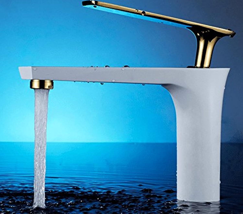 awxjxシンクタップ銅Simplestyle Basinバスルームシングルハンドル1つ穴ベイクホワイトペイントホットとコールド