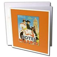 BLNビンテージ旅行ポスター、荷物タグ–SevillaホテルMadrid Spain Festive Couple on Horseback–グリーティングカード Set of 6 Greeting Cards