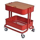 キッチン収納 2段キッチンワゴン 天板付きワゴン キャスター付き サイドテーブル スチールラック ベビーワゴン カラー6色 (レッド)