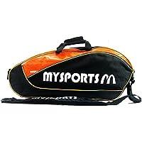調整可能なショルダーストラップバドミントンラケットカバーバドミントンラケットバッグテニスバッグ(3ラケット)、黒