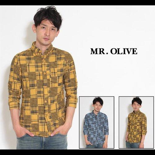 【MROLIVE(ミスターオリーブ)】オーバーダイ パッチワーク マドラスチェック / 3/4スリーブ BDシャツ Sサイズマスタード