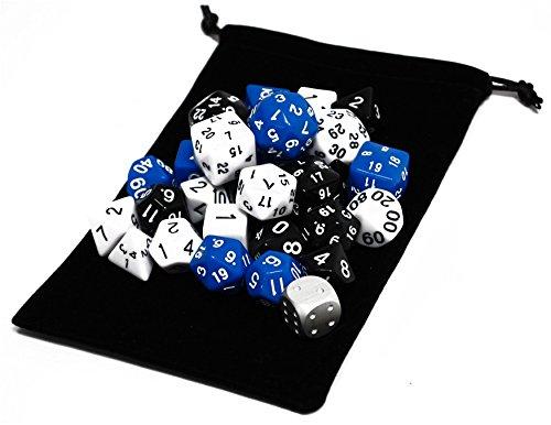 NABY TRPG ボードゲーム カードゲーム 用 多面体 サイコロ ダイス セット 31個 3色(黒/白/青)×10種+ メタルダイス 1個 収納袋付き