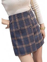 Beaumens チェック柄 台形ミニスカート フロントボタン レトロ