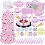 Toy Kitchen Pretend Play Set Play Food Toy Set for Kids 54 PCS with Tea Toy for Party Accessories,Chef Hat and Matching Pink Apron for for Kids,Toddler Toy Gift