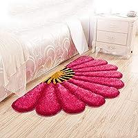 XIAOMEI,ラグ シンプルモダンな扇形のフロアマットリビングルームのベッドルームベッドサイドの敷物 - 9色 - 2サイズ カーペット (色 : E, サイズ さいず : 80*150cm)