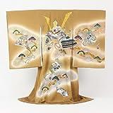 日本製本格正絹着物 金彩・「金茶地にかぶとと松」男物お宮参り お宮参り・産着・祝着