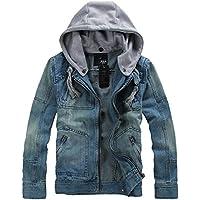 chouyatou Men's Rugged Wear Unlined Denim Jacket with Detachable Hood