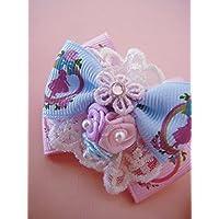 フィードゥリズ Fee du lis オリジナル ハンドメイド ダブルカラー バレリーナ リボン ローズ ラインストーン ヘアゴム Light Pink×Lt.Blue:ライトピンク×ライトブルー
