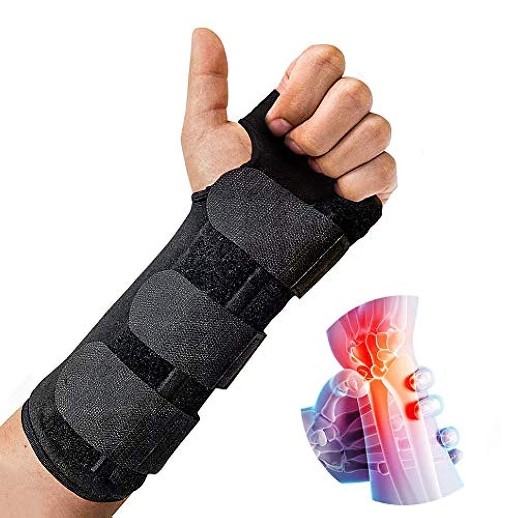 厚いの頭の上適性手首 固定 サポーター 、クッションパッド付きの調整可能な軽量スプリントは、手根管関節炎、腱炎、骨折捻Spに最適な快適さを提供します。,Left,M