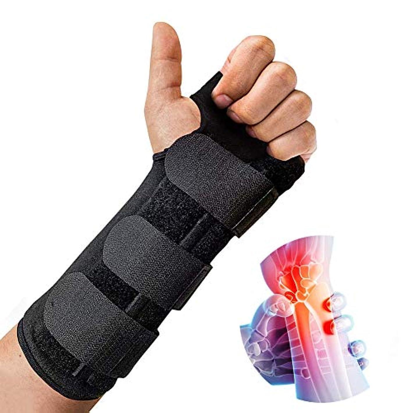 市町村膨張する縞模様の手首 固定 サポーター 、クッションパッド付きの調整可能な軽量スプリントは、手根管関節炎、腱炎、骨折捻Spに最適な快適さを提供します。,Left,M