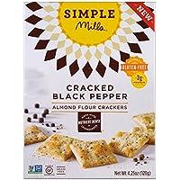 【海外直送品】【3箱セット】Simple Mills - Naturally Gluten-Free, Almond Flour Crackers, Cracked Black Pepper , 4.25 oz (120 g) シンプルミル アーモンドフラワークラッカー ブラックペッパー味