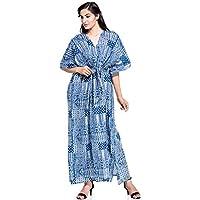 Designer Blue Cotton Women's Caftan Full Size Tunic Long Bath Robe Women's Casual Dress Kaftan