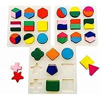 木のぬくもり 優しい パズル 3点セット 考える力 トレーニング カラフル おもちゃ 知育玩具 積み木 幼児 子供 教育 教材 形合わせ