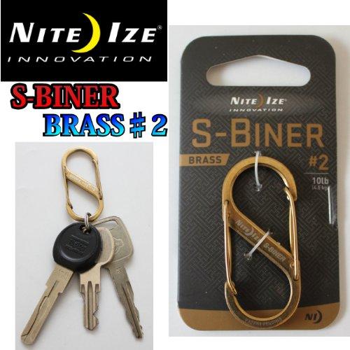 NITEIZE ナイトアイズ エスビナー ブラス ♯2 S-BINER BRASS Sビナー ステンレススチール ゴールド S字フック カラビナ キーホルダー キーリング