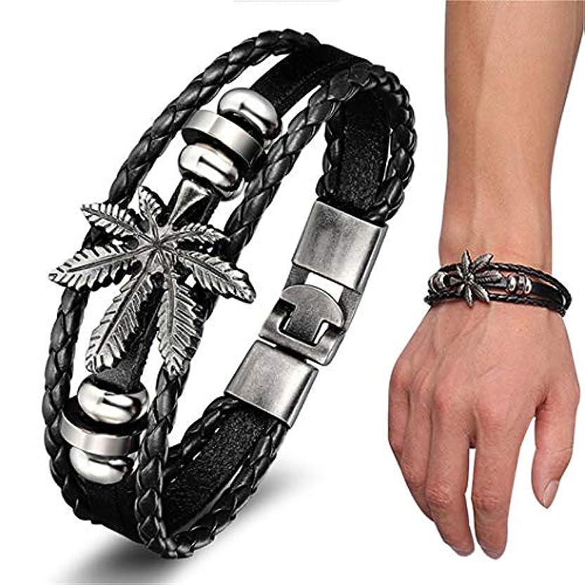 忠実なシフト同一のSperrinsブレスレット メンズ レザー 腕輪 アクセサリー 黒 二連ブレスレット プレゼント ジュエリー 編みこみレザー ジュエリー