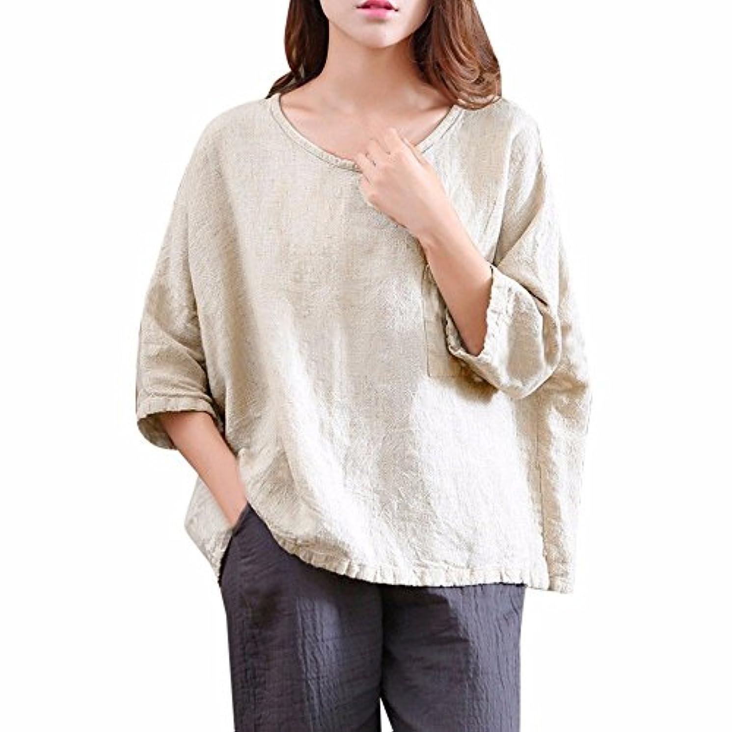 レディース tシャツ 欧米風 麻 半袖 純色 大きなサイズ 新着 半袖 シャツ 無地 ゆったり 大きいサイズ すがすがしい スポーツ YOKINO