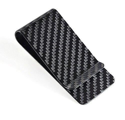 Kinzd® カーボンマネークリップ 財布 お札と紙幣収納 メンズ スタイリッシュ (ブラック)
