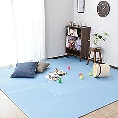 (DORIS) ジョイントマット 大判 60cm 無地 ブルー 6畳用 32枚組 床暖房対応 サイドパーツ付き EVA素材