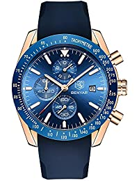 BENYAR メンズ クロノグラフ 時計 シリコン ブレスレット ブルー ダイアル 高級 防水 クォーツ アナログ 時計