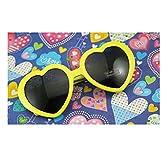 華揚 ファッション かわいい 特大ハート型 プラスチックフレーム レトロサングラスメガネ(黄色い)