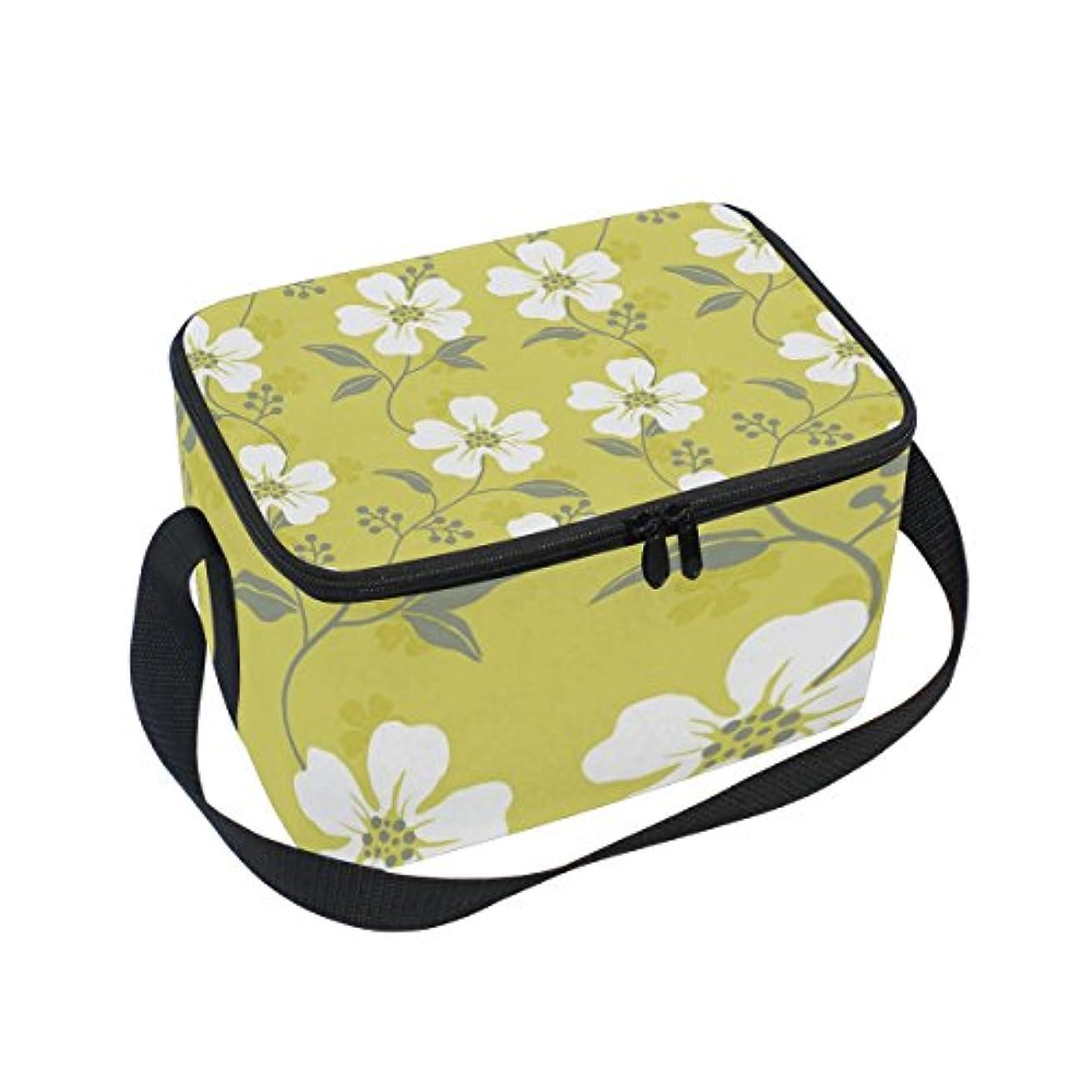 パケットスマイル頼るクーラーバッグ クーラーボックス ソフトクーラ 冷蔵ボックス キャンプ用品 白い小花柄 保冷保温 大容量 肩掛け お花見 アウトドア