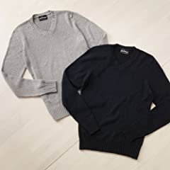 Scaglione Silk V-neck Sweater: Greige, Navy