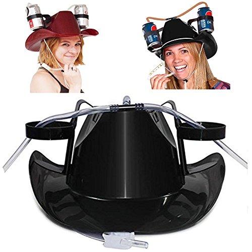 Beho IPRee R怠惰な飲み物のヘルメットを飲むビールコーラコーラソーダカウボーイハットラウンジストローキャップキャンプバーベキューパーティー - 黒