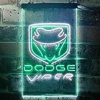 Dodge Viper LED看板 ネオンサイン バーライト 電飾 ビールバー 広告用標識 ホワイト+グリーン W30cm x H40cm