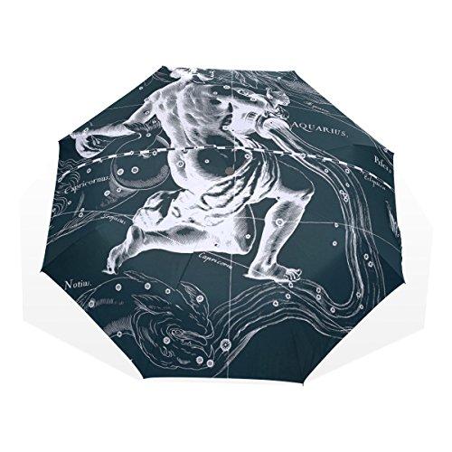 HMWR(ヒマワリ) おしゃれ 神話 星座柄 宇宙柄 星空 水瓶座 みずがめ座 アクエリアス 雑貨 レディース メンズ 子供用 三つ折り傘 折りたたみ傘 頑丈な8本骨 耐強風 軽量 撥水性 大きい 手動開閉 雨傘 日傘 晴雨兼用 収納ケース付 携帯用 かさ
