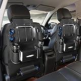 (USBケーブル付き)Yoler シートバックポケット 収納ポケット 後部座席 レザー製 車用 取り付簡単 大容量 多機能 小物入れ (ブラック)