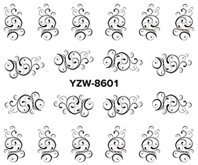 警官等価聴覚障害者SUKTI&XIAO ネイルステッカー 1シートの任意水ステッカーの移動のステッカーの釘の芸術のステッカーの魅力のレースの花の設計、Yzw8601