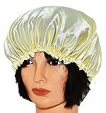 髪の保護にうってつけ シルク レース フリル 付 ナイトキャップ (イエロー)