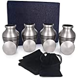 Adera Dreams Small Urns for Human Ashes Keepsake - Set of 4 in Pewter - Mini Cremation Urns - Memorial Ashes Urn with Case, Velvet Pouch and Funnel - Miniature Burial Funeral Urns for Sharing Ash