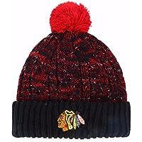 NHLレディースBrilyn OTS Cuff Knit Cap with Pom、レディース ブラック