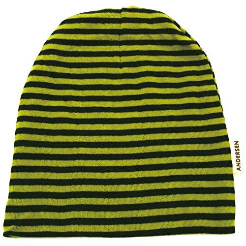 ハッピーハット キッズ 帽子 ニット帽 小さいサイズ ボーダー柄ニットワッチ グリーン×ネイビー kids-219-04