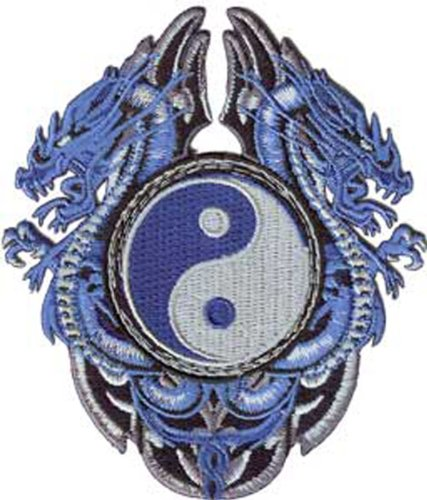 Blue DRAGONS with Yinyang, Officially Licensed Original Artwork, Iron-On / Sew-On, 3.2