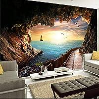 Xbwy 3D壁画壁紙用ウォールサンセット海景から洞窟ロングギャラリー写真壁紙用リビングルームテレビソファ背景壁カバー-200X140Cm