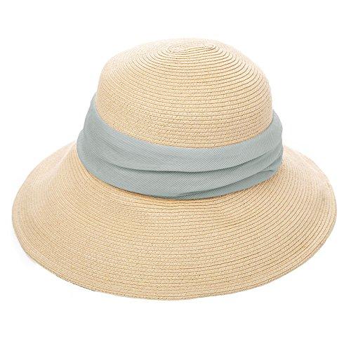 (シッギ)Siggi 麦わら帽子 ストローハット レディース 夏 サイズ調整 つば広 uvカット ゴルフ 釣り メッシュ 折りたたみ 女優帽子 ベージュ