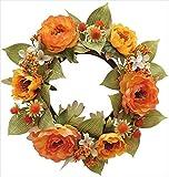 エルアーツ 造花 ヌヴェールローズリース 直径23cm・花径4~7cm オレンジ E3691-07