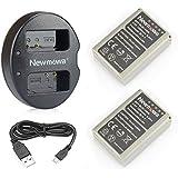 Newmowa BLN-1 互換バッテリー 2個+充電器 対応機種 Olympus BLN-1 BCN-1 Olympus OM-D E-M1 OM-D E-M5 PEN E-P5 OM-D E-M5 II