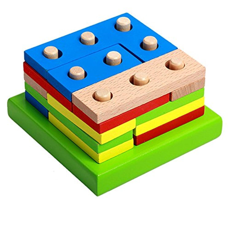 Domybest パズル 木製 木のおもちゃ 幾何パズル 木製ブロック 積み木 棒さし 型はめ 形合わせ 幾何認識 児童 キッズ 幼児 カラフル 知的玩具 知育玩具