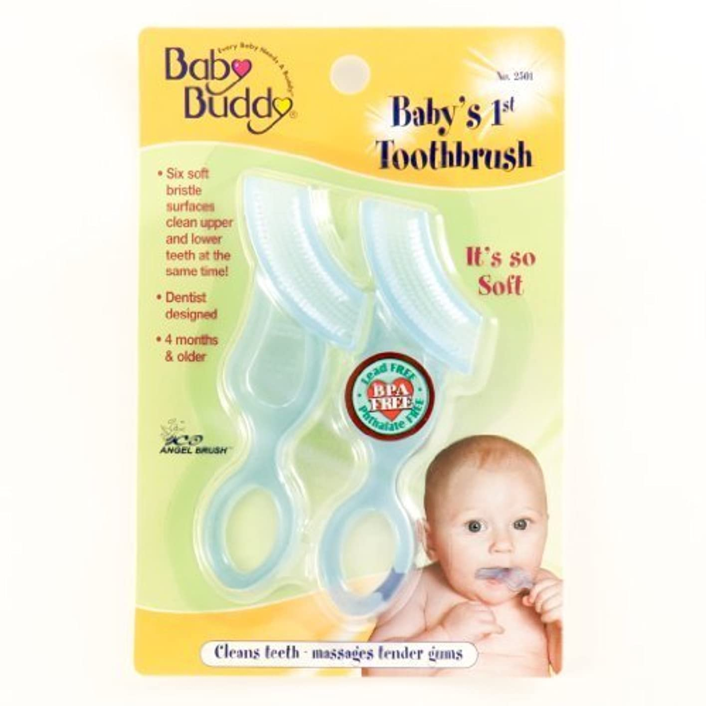 恐ろしい耐久達成可能Baby Buddy Baby's 1st Toothbrush, Blue, 2-Count by Baby Buddy [並行輸入品]