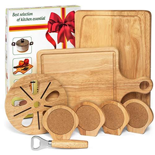『Best Kitchen Essentials まな板 厚手木製ブロック チョッピングカービングボード 1台 竹製チーズボードオーガナイザー 木製コースター4枚 栓抜き1つ 大型マット1つ 鍋つかみギフトセット』のトップ画像
