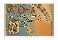 アロハ ハワイ諸島 - レインボー州 状態 - ビンテージなハワイアンカラーのハガキ c.1944 - アートポスター - 33cm x 48cm