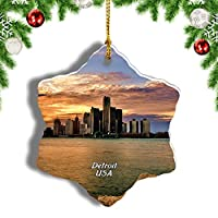 Weekinoアメリカアメリカデトロイトミシガンクリスマスオーナメントクリスマスツリーペンダントデコレーション旅行お土産コレクション陶器両面デザイン3インチ