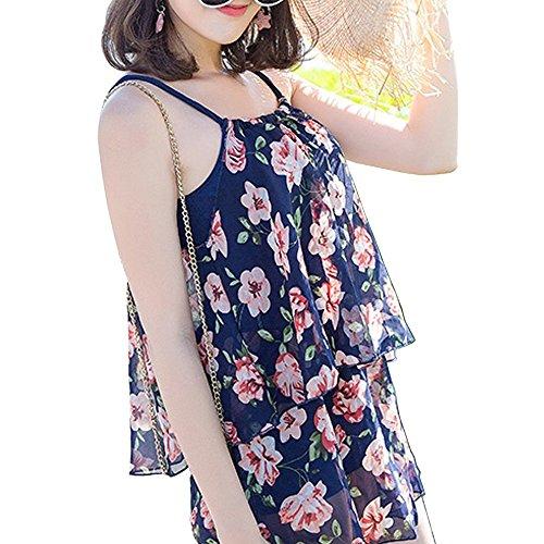 CUBY ワンピース レディース水着 体型カバー 花柄 かわいい水着(ブルー花, XL)
