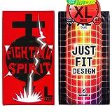 JUST★FIT(ジャストフィット) XL 12個入 + FIGHTING SPIRIT (ファイティングスピリット) コンドーム Lサイズ 12個入