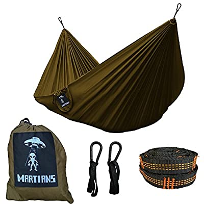 MARTIANS Camping Hammock Single Lightweight Portable Nylon Parachute Hammock for Backpacking, Travel, Beach, Yard. Tree Straps & Steel Carabiners Included